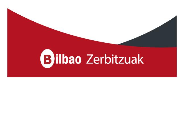 Logo Bilbao Zerbitzuak con fondo rojo y gris